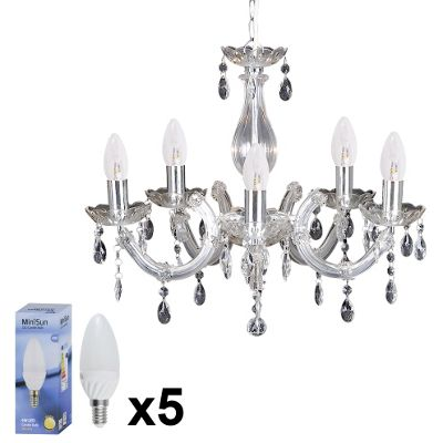 Marie Therese 5 Way LED Chandelier Ceiling Warm White Candle Bulbs