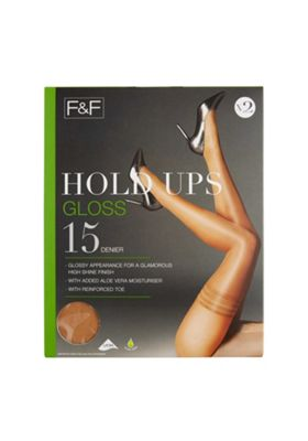 F&F 2 Pack of Gloss 15 Denier Hold-Ups with Lycra® S/M Natural