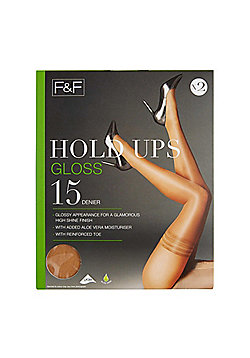F&F 2 Pack of Gloss 15 Denier Hold-Ups with Lycra® - Natural