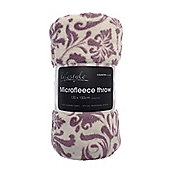 Country Club Microfleece Printed Throw, 130 x 150cm, Purple Pattern