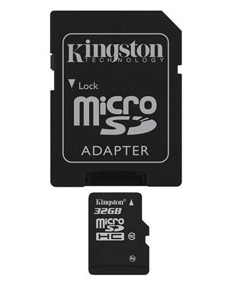 Kingston microSDHC 32GB Class 10 Card + SD Adapter