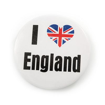 'I Heart Love England' Lapel Pin Button Badge - 4.5cm Diameter