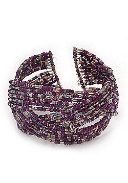 Boho Purple/Silver Glass Bead Plaited Flex Cuff Bracelet - Adjustable