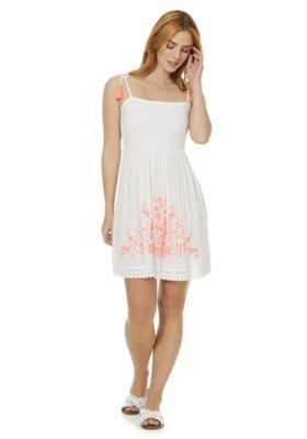 F&F Embroidered Shirred Beach Dress White/Coral M