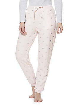 F&F Holographic Heart Fleece Lounge Joggers - Pink