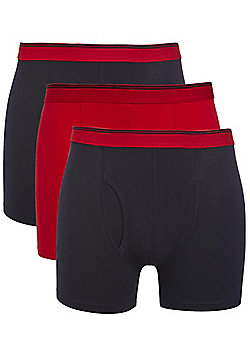 F&F 3 Pack of Striped Waistband Trunks - Red & Navy