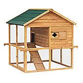 PawHut Double Tier Waterproof Wooden Chicken / Rabbit Ark Cage Ramp