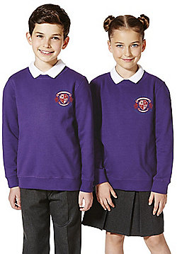 Unisex Embroidered Cotton Blend School Sweatshirt with As New Technology - Purple