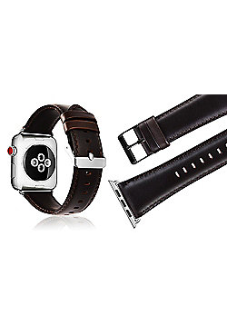 Aquarius Replacement Genuine Leather Strap Band for Apple Smart iWatch 38mm - Dark Brown - R164432