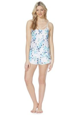 F&F Floral Print Strappy Cami and Shorts Pyjama Set Blue Multi 20-22