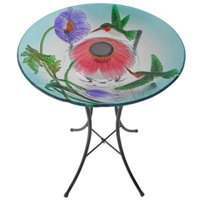Outdoor 18-Inch Hummingbird Fusion Glass Solar Bird Bath