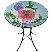 Outdoor 18-Inch Hummingbird Fusion Glass Solar Bird Bath