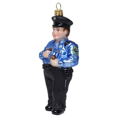 New York Police Officer Mouth-Blown Glass Christmas Tree Bauble Decoration