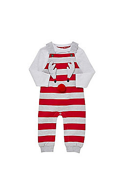 F&F Reindeer Striped Dungarees and Bodysuit Set - Red