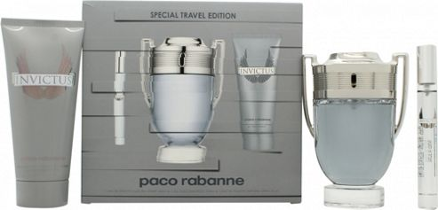 Paco Rabanne Invictus Gift Set 100ml EDT Spray + 100ml Shower Gel + Mini 10ml EDT For Men
