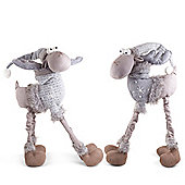 Arthur & Aaron the Large 4 Legged Standing Grey Fabric Christmas Reindeer