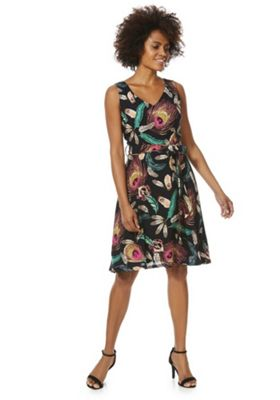Solo Feather Print Flared Dress Multi 12