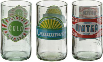 Artland Hi Ball Tumbler Retro Glass Bottle Design, Set of 3