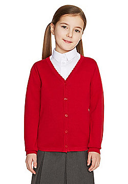 F&F School Girls Scallop Trim Cardigan with As New Technology - Red