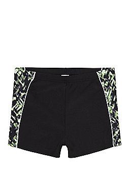 F&F Blurred Print Panel Swimming Trunks - Black