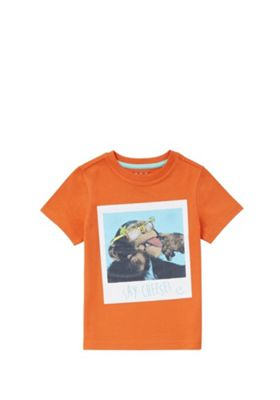 F&F Chimpanzee Say Cheese T-Shirt Orange 12-18 months