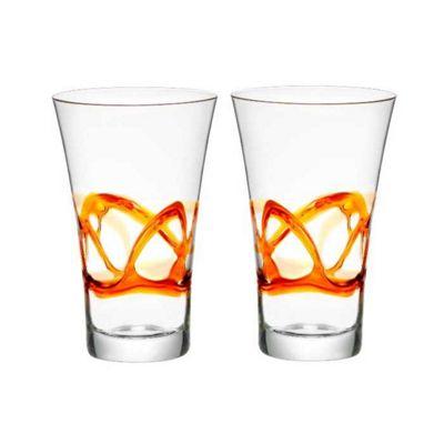 Bormioli Rocco Ceralacca Hiball Glasses - 380ml - 12.75oz - Orange - Set of 2