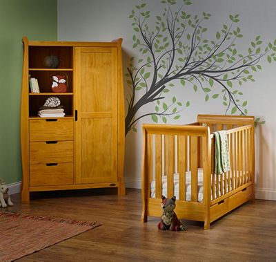 Obaby Stamford Mini Cot Bed/Wardrobe 2 Piece Nursery Room Set - Country Pine