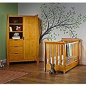 Obaby Stamford Mini Cot Bed/Wardrobe 2 Piece Nursery Room Set - Country Pine