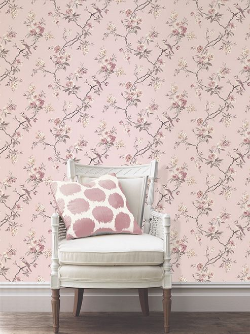 Chinoiserie Sidewall Pink Wallpaper