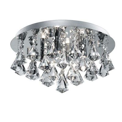 HANNA IP44 BATHROOM - 4 LIGHT CRYSTAL CEILING FLUSH, CLEAR PYRAMID CRYSTAL DROPS, CHROME