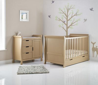 Obaby Stamford 2 Piece Cot Bed Nursery Room Set - Iced Coffee