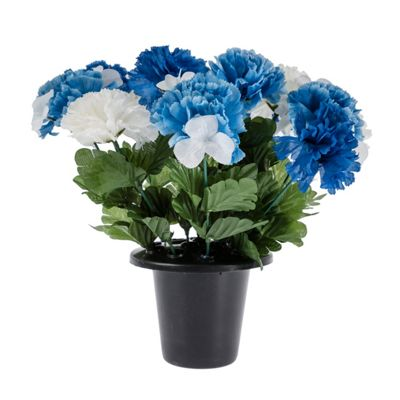 Homescapes Blue and White Grave Artificial Carnation Flowers Mix in Grave Vase