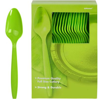 Lime Green Plastic Spoons - 100 Pack