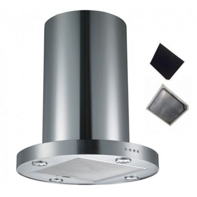 Cookology TUB350SS | 60cm Tubular Island Chimney Cooker Hood in Stainless steel & Recirculating Carbon Filter