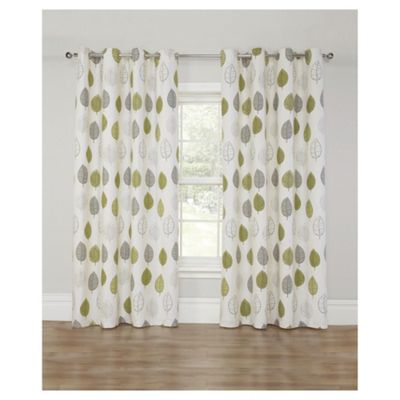 Leaf Print Lined Eyelet Curtains, Green (46 X 54u0027u0027)