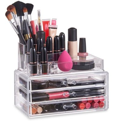 Beautify Clear Acrylic 3 Drawer Cosmetic Makeup Table Organiser