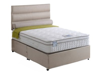 Land of Beds Tutbury 2000 Small Double Non-Storage Divan in Oatmeal