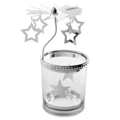 Star Carousel Glass Christmas Tea Light Candle Holder Decoration