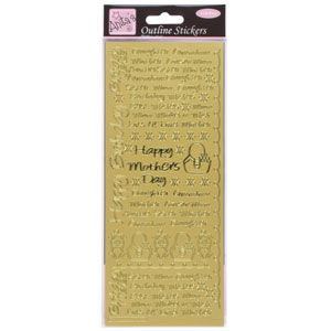 Outline Stickers Female Text Gold