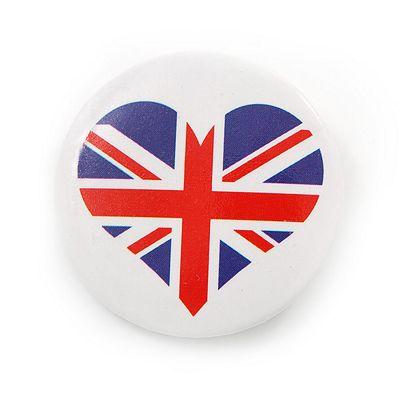 Union Jack Heart Lapel Pin Button Badge - 3cm Diameter