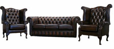 Chesterfield Leather 3 seater+2 Wing Chairs Sofa Brown