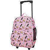 Children's 2-Wheel Suitcase, Pink Horses