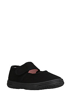 F&F Mary Jane Canvas Plimsoles - Black