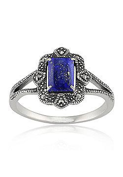 Gemondo Sterling Silver 0.9ct Lapis Lazuli & 8.8pt Marcasite Art Deco Style Ring