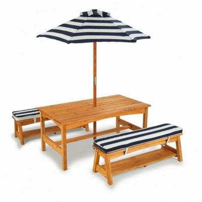 Children's Wooden Outdoor Table and Bench with Umbrella