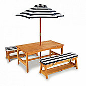 Kidkraft Outdoor Table and Bench Set W/Cushion and umbrella