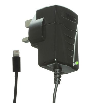 Kit Apple Approved 1 Amp Mains Charger with Lightning Connector for iPhone 5, iPod Touch 5th Gen and iPod Nano 7th Gen - Black