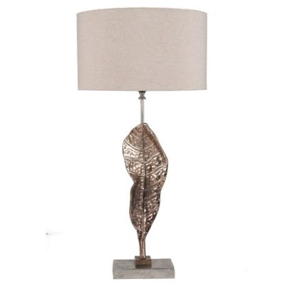 Champagne Sculptured Leaf Table Lamp Beige Shade