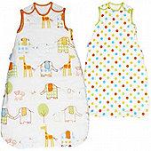 Grobag Twin Pack Hippo Hop & Spot 2.5 Tog Sleeping Bags - 0-6 Months