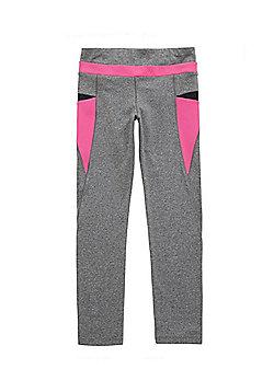 F&F Active Colour Block Panel Leggings - Grey & Pink